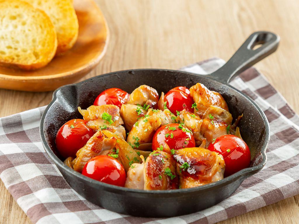 鶏肉とミニトマトのだし酢炒め