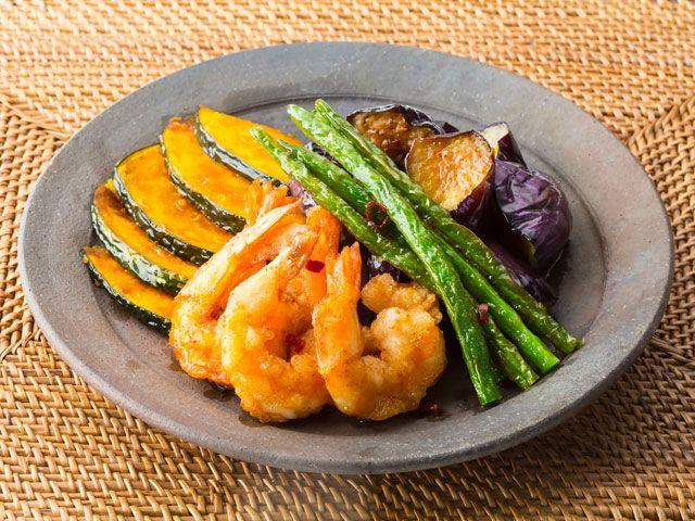 野菜とエビの揚げ南蛮