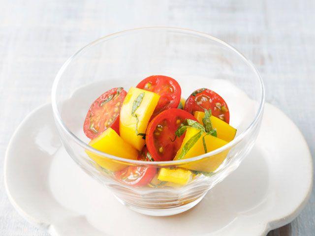 ミニトマトとパプリカのぽん酢和え