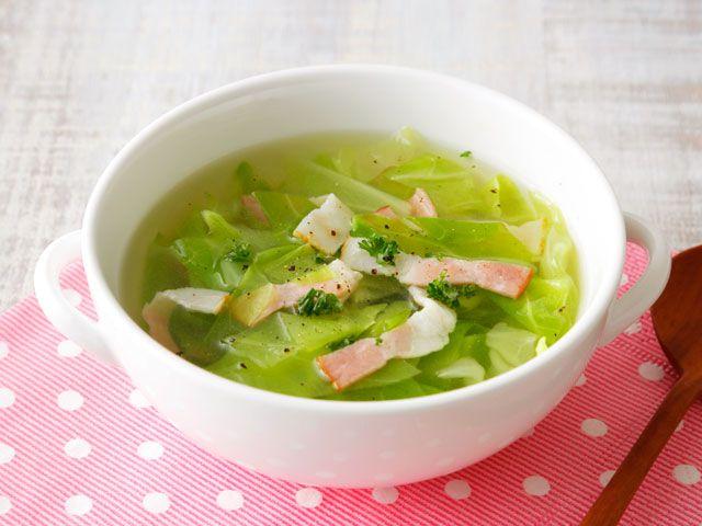 キャベツとベーコンのスープ