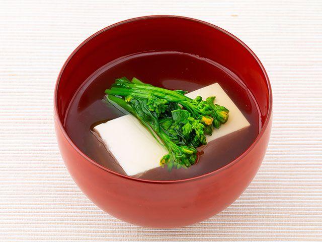 豆腐と菜の花のお吸い物