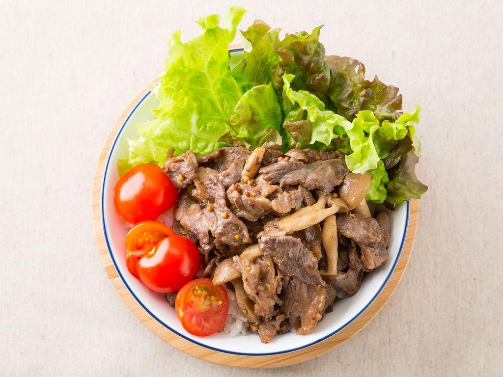 牛肉のマスタード醤油丼