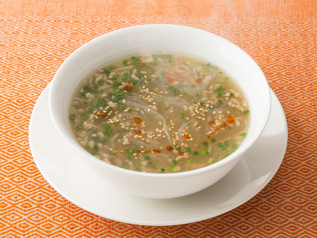 春雨とひき肉の中華スープ