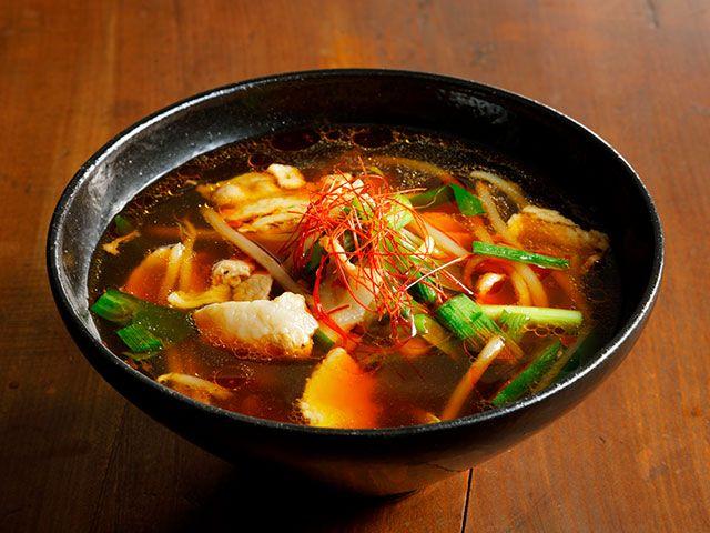 豚肉ともやしのピリ辛スープ
